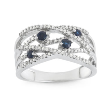 jcpenney.com | Genuine Sapphire and 1/5 CT. T.W. Diamond White Gold Swirl Ring
