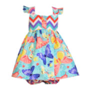 Bonnie Jean® Butterfly Chevron Dress – Baby Girls newborn-24m