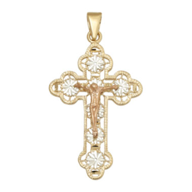 jcpenney.com | Infinite Gold™ 14K Tri-Tone Gold Filigree Crucifix Cross Pendant