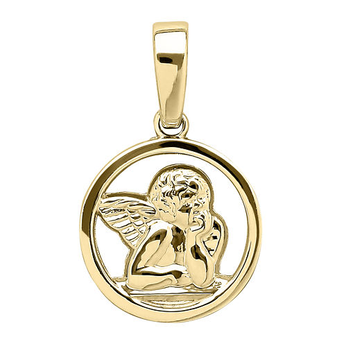 Infinite Gold™ 14K Yellow Gold Guardian Angel Medal Charm Pendant