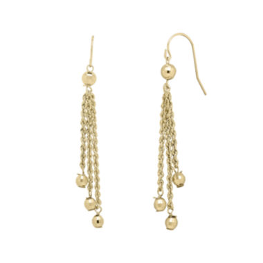 jcpenney.com | Infinite Gold™ 14K Yellow Gold Bead Station Lariat Earrings