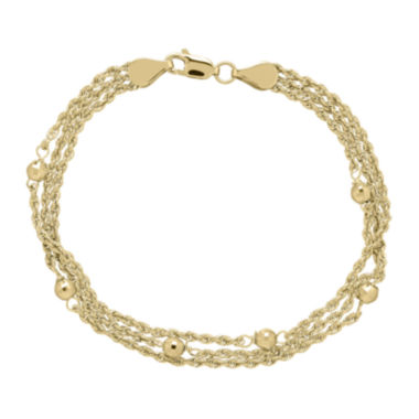 jcpenney.com | Infinite Gold™ 14K Yellow Gold Bead Station Hollow Triple-Rope Chain Bracelet