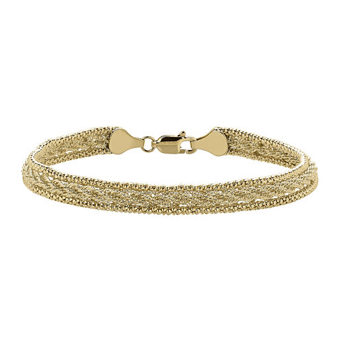 Infinite Gold™ 14K Yellow Gold Popcorn-Edge Hollow Twisted Rope Bracelet
