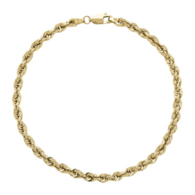 jcpenney.com | Infinite Gold™ 14K Yellow Gold Glitter Hollow Rope Chain Bracelet