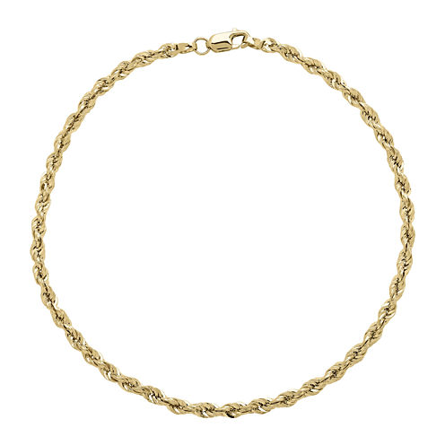 Infinite Gold™ 14K Yellow Gold Long Glitter Hollow Rope Chain Bracelet