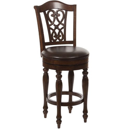 Matteson Scrolled Back Swivel Barstool