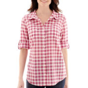 St. John's Bay® Elbow-Sleeve Roll-Tab Button Front Shirt