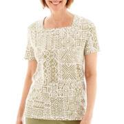 Alfred Dunner® Coastal Breeze Short-Sleeve Monotone Batik Patch Print Top