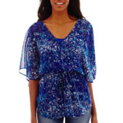 a.n.a® Short-Sleeve Cinched Waist V-Neck Peasant Top