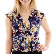 Worthington® Sleeveless Pleated Button-Front Blouse