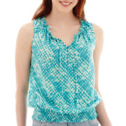 a.n.a® Sleeveless Tie-Neck Ruffle Banded Bottom Blouse