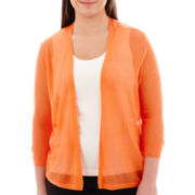 Worthington® 3/4-Sleeve Open-Stitch Cardigan Sweater - Plus