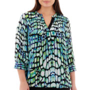 Worthington® 3/4-Sleeve Floral Print Blouse - Plus