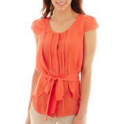 Worthington® Pleated Button-Front Shell Top - Petite