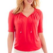 Liz Claiborne® Elbow-Sleeve Tie-Neck Top - Petite