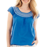 St. John's Bay® Short-Sleeve Embroidered Peasant Top - Petite