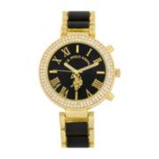 U.S. Polo Assn.® Womens Black & Gold-Tone Stone Bezel Bracelet Watch