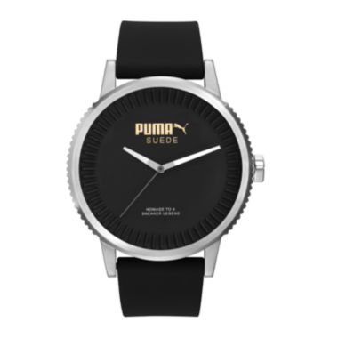 jcpenney.com | Puma® Black Dial Black Suede Strap Watch