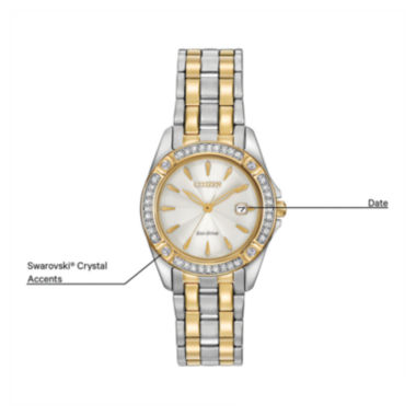jcpenney.com | Citizen® Eco-Drive Silhouette Womens Crystal-Accent Two-Tone Stainless Steel Bracelet Watch EW2354-53P