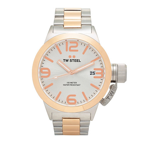 TW Steel Mens Silver and Rose Gold Tone Canteen Bracelet Watch