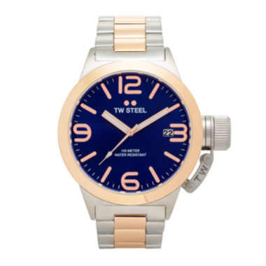 jcpenney.com | TW Steel Mens Rose Gold Tone and Blue Canteen Bracelet Watch