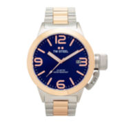 TW Steel Mens Rose Gold Tone and Blue Canteen Bracelet Watch
