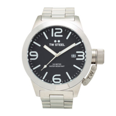 jcpenney.com | TW Steel Mens Silver Tone and Black Canteen Bracelet Watch