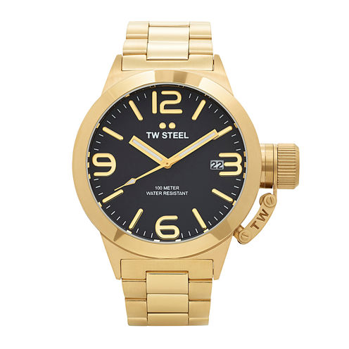 TW Steel Canteen Bracelet Mens Gold-Tone Stainless Steel Link Watch