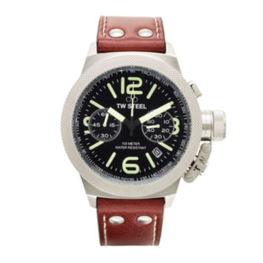 jcpenney.com | TW Steel Canteen Mens Black Dial Brown Leather Strap Luminous Watch