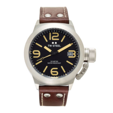 jcpenney.com | TW Steel Canteen Mens Black Dial Brown Leather Strap Watch