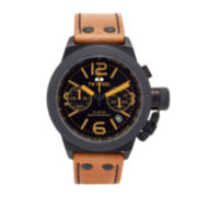 TW Steel Mens Chronograph Tan and Black Canteen Strap Watch