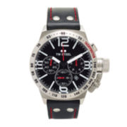 TW Steel Mens Chronograph Black Leather Canteen Strap Watch