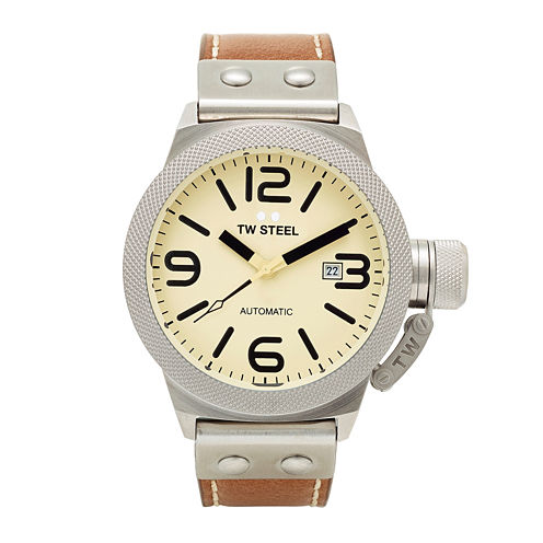 TW Steel Mens Tan and Cream Canteen Strap Watch