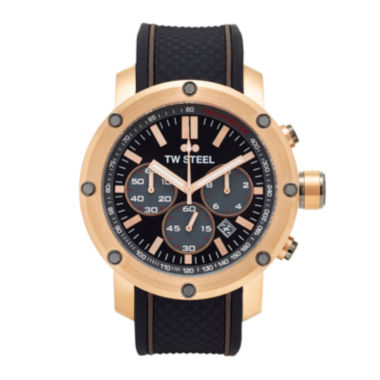 jcpenney.com | TW Steel Mens Chronograph Black and Rose Gold Tone Grandeur Tech Strap Watch