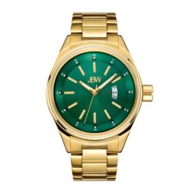 jcpenney.com | Jbw Mens Gold Tone And Green Diamond Accent Bracelet Watch