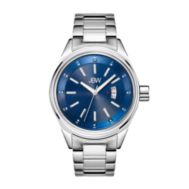 jcpenney.com | Jbw Mens Silvertone And Blue Stainless Steel Diamond Accent Bracelet Watch
