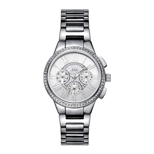 Jbw Womens Silver Tone Diamond Accent Bracelet Watch