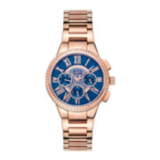 Jbw Womens Rose Gold Tone And Blue Dial Diamond Accent Bracelet Watch