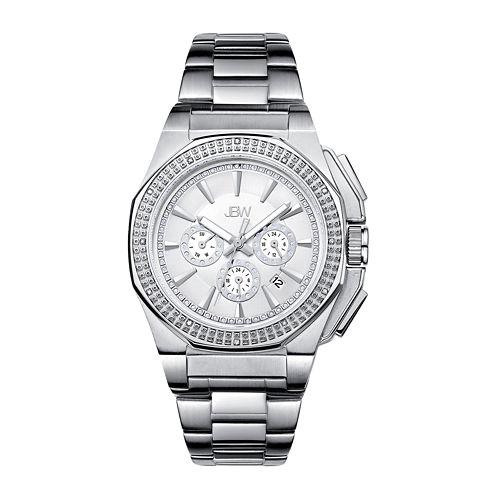 Jbw Mens Silver Tone Stainless Steel Diamond Accent Bracelet Watch