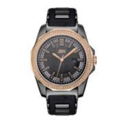 JBW Mens Diamond Accent Rose-Tone Case & Black Silicone Strap Watch