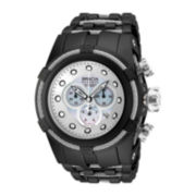 Invicta® Bold Zeus Mens Silver Dial Black IP Plated Stainless Steel Bracelet Watch