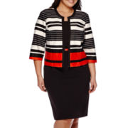 Studio 1® 3/4-Sleeve Stripe Structured Jacket Dress - Plus