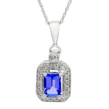 jcpenney.com | LIMITED QUANTITIES  Genuine Tanzanite & 1/7 CT. T.W. Diamond 14K White Gold Pendant Necklace
