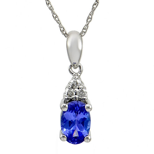 LIMITED QUANTITIES  Genuine Purple Tanzanite & Diamond Accent 14K White Gold Pendant Necklace