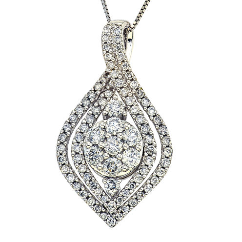 1 CT. T.W. Diamond 14K White Gold Pendant Necklace
