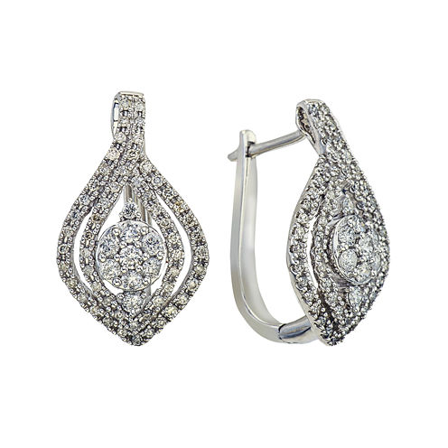 1 CT. T.W. Diamond 14K White Gold Drop Earrings