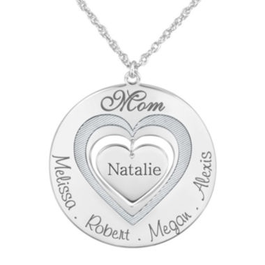 "jcpenney.com | Personalized ""Mom"" with Child Names around Heart Pendant Necklace"