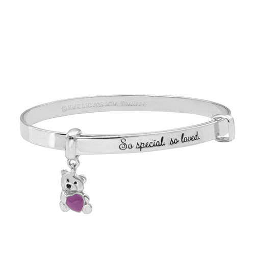 Hallmark Kids Sterling Silver Enamel Teddy Bear Bangle Bracelet