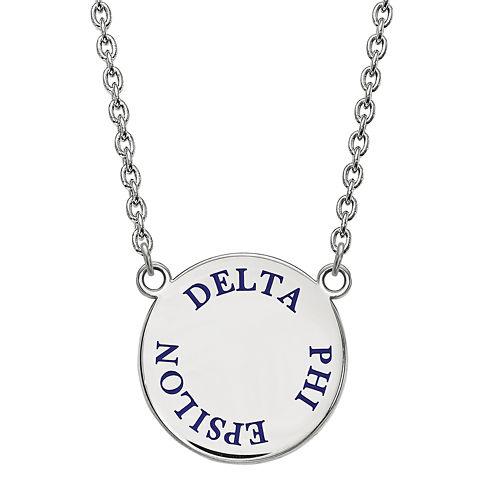 Delta Phi Epsilon Enamel Sterling Silver Disc Pendant Necklace