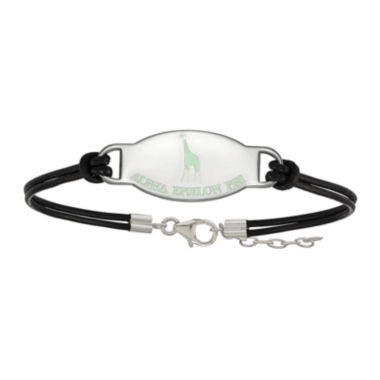 jcpenney.com | Alpha Epsilon Phi Enamel Sterling Silver Leather Bracelet